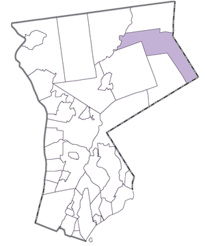 Lewisboro, New York - Map of Westchester highlighting Lewisboro