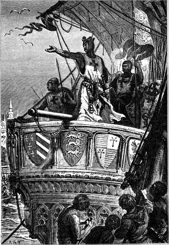 Battle of Jaffa (1192) - Richard I bidding farewell to the Holy Land. Victorian image