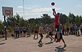 Lithuanian and Latvian soldiers compete in a basketball tournament during a cultural day in Pabrade, Lithuania, June 8, 2013, during exercise Saber Strike 2013 130608-A-HW973-005.jpg
