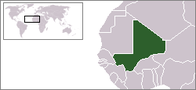 A map showing the location of Mali