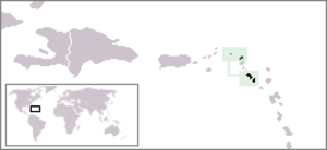 Saint Christopher-Nevis-Anguilla - Location of Saint Christopher-Nevis-Anguilla among the Leeward Islands.