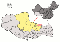 Location of Baqên County (red) within Nagqu City (yellow) and the Tibet Autonomous Region