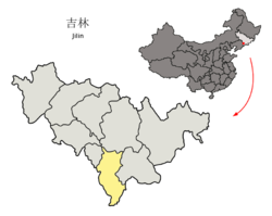 Location of Tonghua City (yellow) in Jilin (light grey) and China
