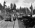 Loggers and locomotive with deer antlers mounted on light, Coats-Fordney Lumber Company, near Aberdeen, ca 1920 (KINSEY 1879).jpeg