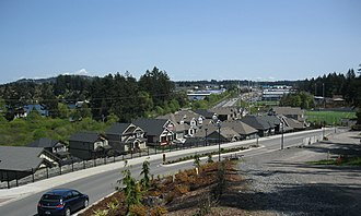 Langford, British Columbia - Image: Looking East from Westhills to Rugby fields. SEE DESCRIPTION IN PANORAMIO panoramio
