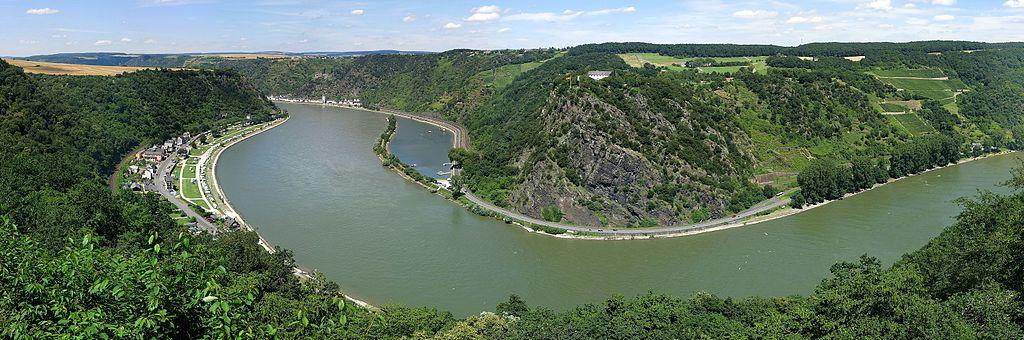 Loreley am Mittelrhein (gesehen vom Loreleyblick Maria Ruh), UNESCO-Weltkulturerbe Oberes Mittelrheintal