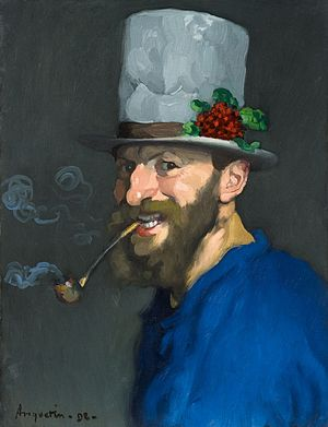 Louis Anquetin - Autoportrait à la pipe, self-portrait, 1892
