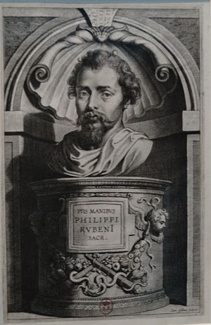 Philip Rubens - A portrait of Philip Rubens engraved by Cornelis Galle the Elder