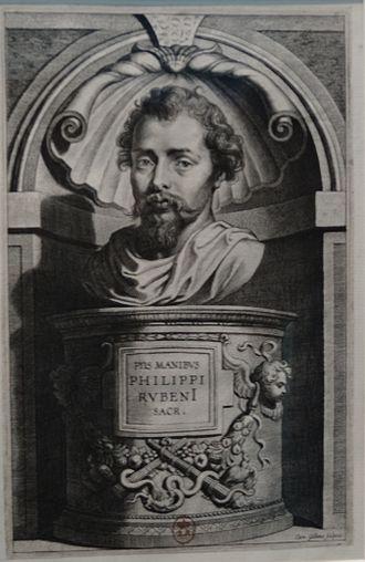 Philip Rubens - A portrait of Philip Rubens engraved by Cornelis Galle the Elder