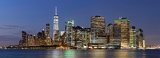 Финансовый район, Манхэттен, вид с острова Говернорс