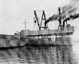 Landing craft tank - An LCT being loaded onto an LST by a crane barge