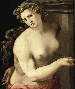 Michele Tosini - Lucretia, 1540s.  Oil on panel, private collection.