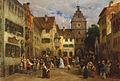Ludwig von Hagn Überlingen Straßenszene mit Hochzeitsgesellschaft.jpg