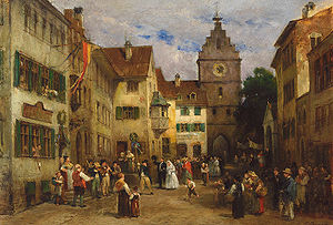 Ludwig von Hagn - Busy Street with Wedding Party in Überlingen