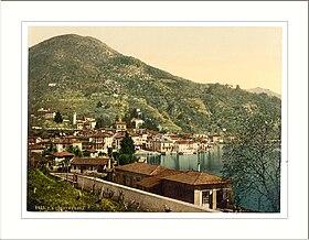 Alte Postkartenansicht des schweizerischen Teils von Ponte Tresa
