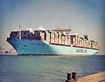 Mærsk Mc-Kinney Møller passando Port Said nel canale di Suez sul suo voyage.jpg inaugurale