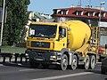 MAN TGA 35.350 cement mixer truck on Dębnicki bridge in Kraków.jpg