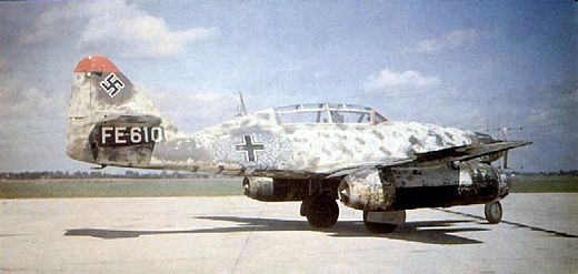 Me 262B-1a/U1 night fighter, Wrknr. 110306, with FuG 218 Neptun antennae in the nose and second seat for a radar operator. This airframe was surrendered to the RAF at Schleswig in May 1945 and taken to the UK for testing. ME 262 2.jpg