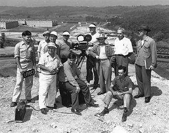 Norman Taurog - Norman Taurog (foreground, second from left) and MGM camera crew at K-25, Oak Ridge, Tennessee, in July 1946, filming The Beginning or the End (1947)