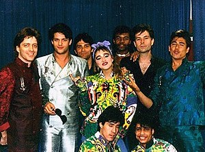 Madonna (Madonna album) - Madonna, surrounded by her band, during The Virgin Tour in 1985.
