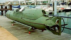 Human torpedo - An Italian maiale type manned torpedo, at the Royal Navy Submarine Museum.