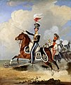 Major (Brevet Lieutenant-Colonel) James John Hugonin (1782–1854), 4th Light Dragoons (with his black trumpeter, two troopers and the regiment beyond).jpg