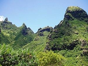 Limahuli Garden and Preserve - Makana Mountain ridge, as seen from the garden.