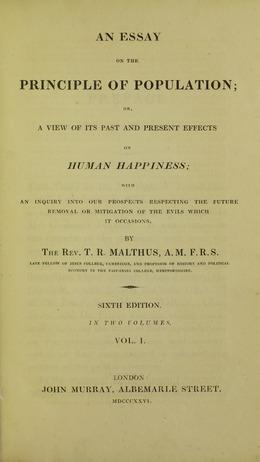 Essay on principle of population 1798
