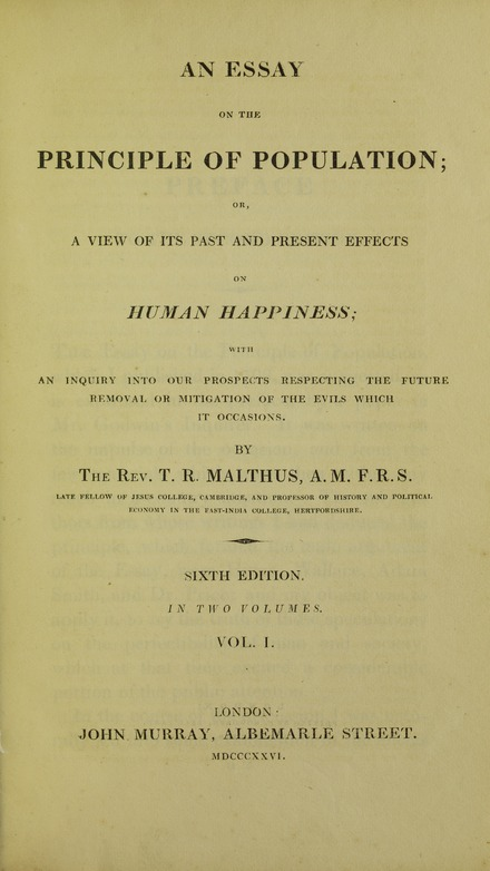 Essay on the principle of population, 1826