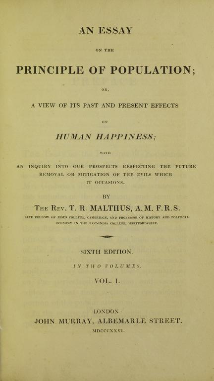 Thomas malthus an essay on the principle of population citation