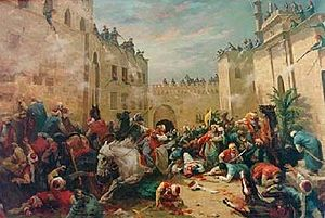 Muhammad Ali's seizure of power - Massacre of the Mamluks at the Cairo citadel, painted by Horace Vernet.