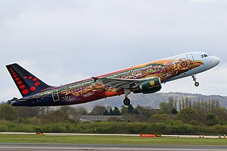 "A Brussels Airlines Airbus A320 at Manchester Airport with promotional Tomorrowland paintwork. Manchester Airport Brussels Airlines A320 OO-SNF ""Tomorrowland Livery"" (33172193794).jpg"
