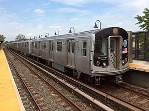 L (New York City Subway service) - A train made of R143 cars in cars in L service at New Lots Avenue, bound for Manhattan