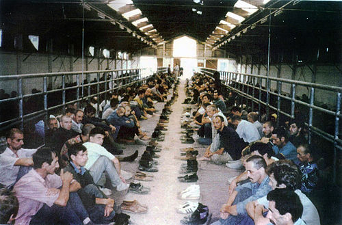 Detainees in the Manjača Camp, near Banja Luka, Bosnia and Herzegovina. (Photograph provided courtesy of the ICTY) - Manjača camp