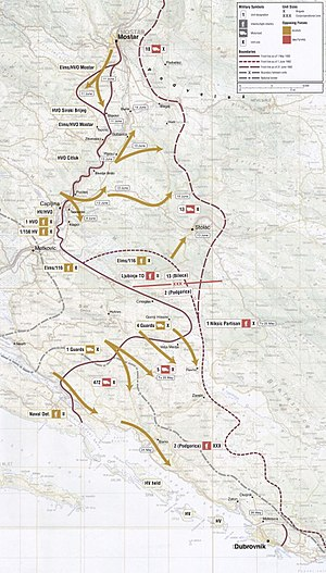 Siege of Mostar - Map of Operation Jackal which brought an end to the siege in 1992