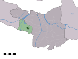 The town centre (dark green) and the statistical district (light green) of Philippine in the municipality of Terneuzen.