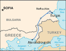 Location of Burgas–Alexandroupoli pipeline