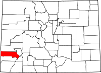 Map of Colorado highlighting San Miguel County