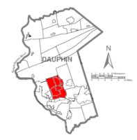 Map of Dauphin County, Pennsylvania highlighting Lower Paxton Township
