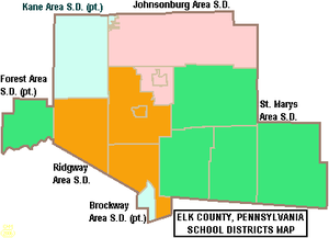 Map of Elk County Pennsylvania School Districts.png