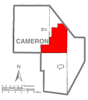 Map of Cameron County, Pennsylvania highlighting Lumber Township