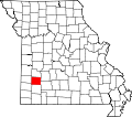 Map of Missouri highlighting Dade County.svg