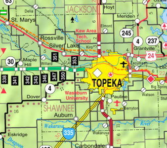 Auburn, Kansas - Image: Map of Shawnee Co, Ks, USA