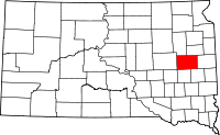 Map of South Dakota highlighting Kingsbury County