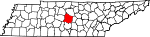 State map highlighting Rutherford County