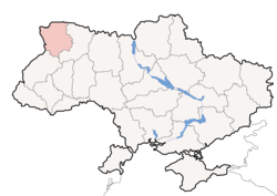 Location o Volyn Oblast (red) athin Ukraine (blue)