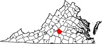 Map of Virginia highlighting Appomattox County