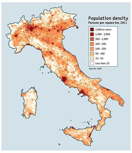 Map of Italy's population density as of the 2011 census Map of population density in Italy (2011 census) alt colours.jpg