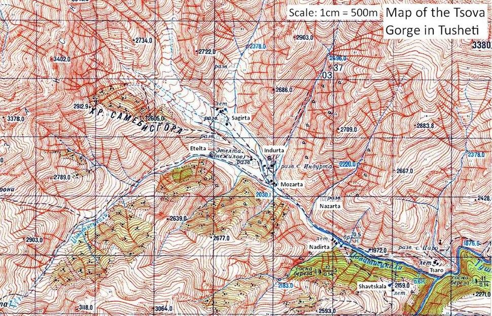 """Map of the Tsova Gorge (""""Tsovata"""") in Tusheti"""