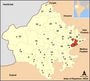 Karauli district - Image: Map rajasthan dist num 20